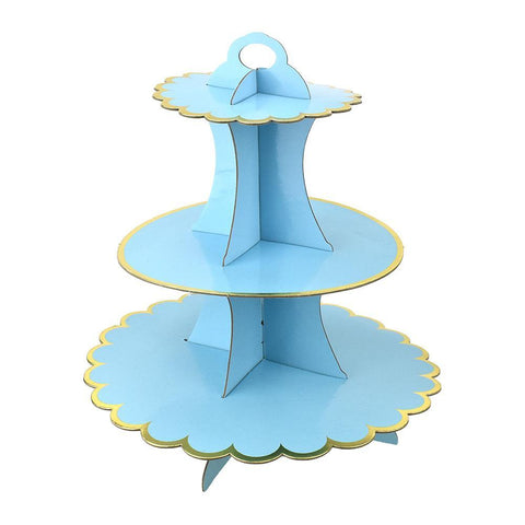 3-Tier Cardboard Cupcake Stand, Blue, 13-Inch