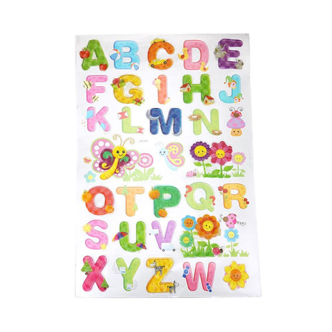 3D Alphabet Kid's Room Wall Art Stickers, Assorted, 32-Piece