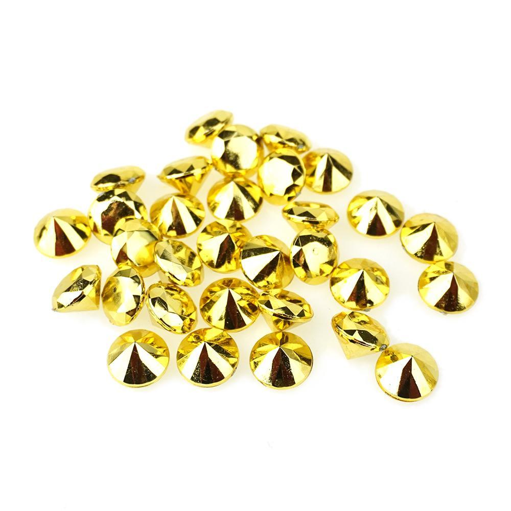 Acrylic Diamond Gemstone Confetti, Gold, 3/4-Inch, 50-Count