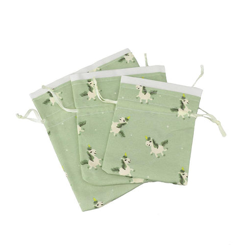 Drawstring Unicorn Pouches, Assorted Sizes, 3-Piece, Dusty Green