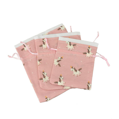Drawstring Unicorn Pouches, Assorted Sizes, 3-Piece, Dusty Pink