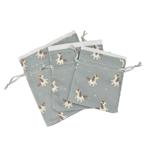 Drawstring Unicorn Pouches, Assorted Sizes, 3-Piece, Dusty Blue