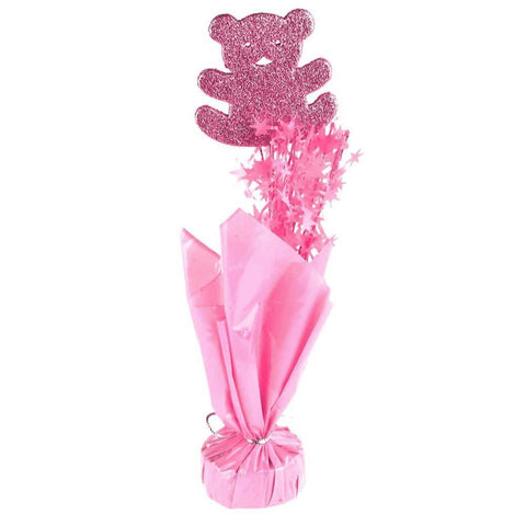 Balloon Weight Baby Shower Centerpiece, 11-1/2-Inch, Teddy Bear, Pink