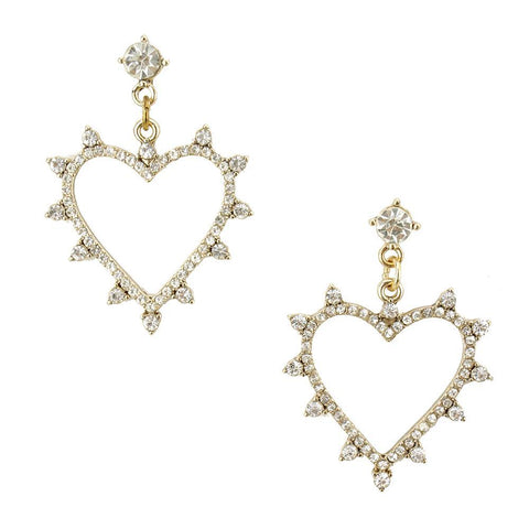 Rhinestone Heart Drop Earrings, 1-1/2-Inch