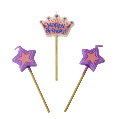 Princess Crown Pick Birthday Candles, 4-Inch, 3-Piece