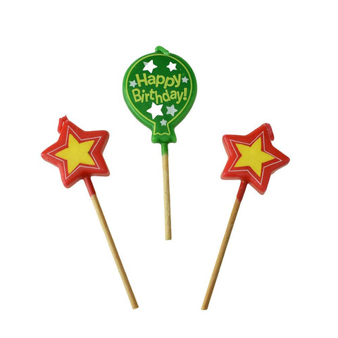 Balloon Pick Birthday Candles, 4-Inch, 3-Piece