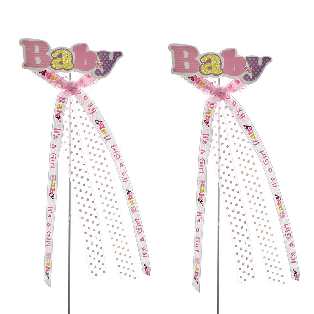 "Baby Shower ""Baby"" Pick With Bow, 9-3/4-Inch, 2-Count, Pink"