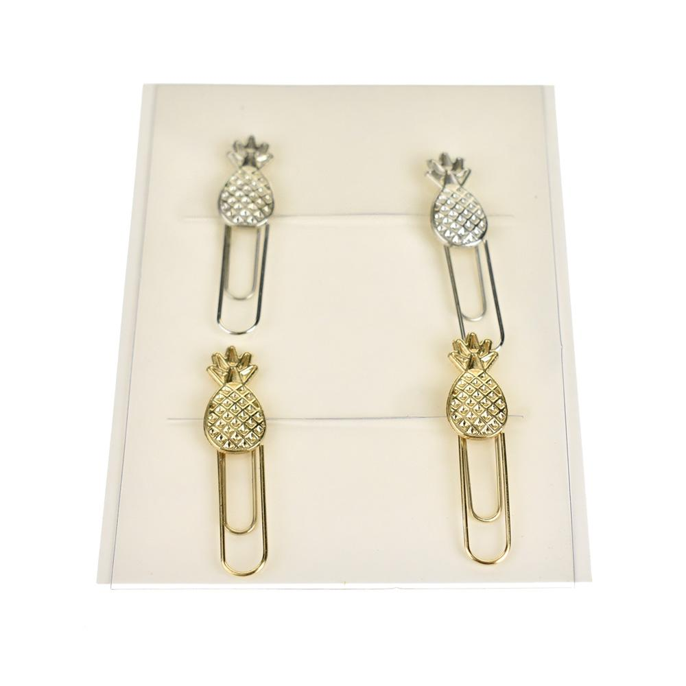 Pineapple Paper Clips, Gold/Silver, 4-Piece