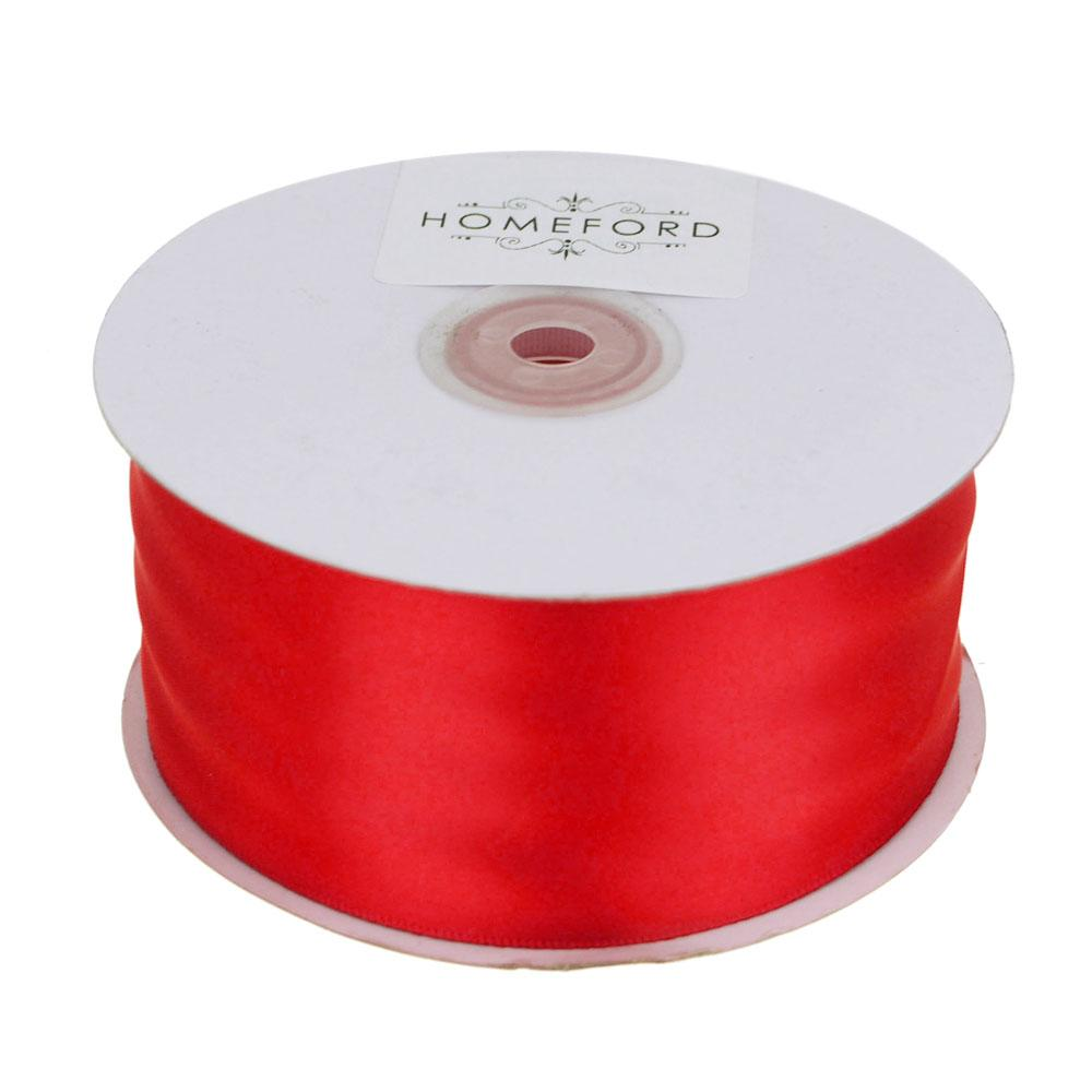 Single Face Satin Ribbon, 2-Inch, 50 Yards, Red