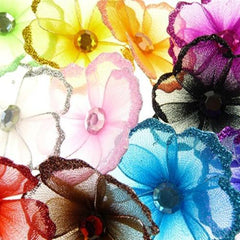 Organza Glitter Nylon, Mini Flower, 2-inch, 12-Piece