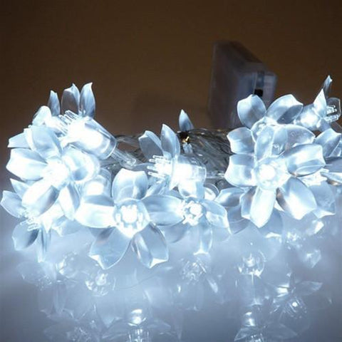 LED Flower String Lights, White, 28-inch, 20 LED