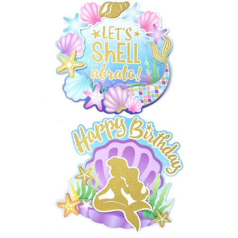 3D Glitter Mermaid Party Cut Outs, 12-Inch, 2-Piece