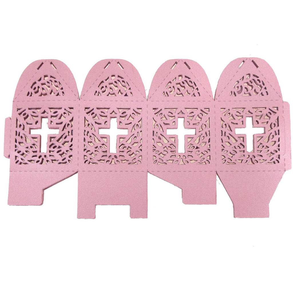 Laser Cut Favor Boxes, Cross, 2-Inch, 12-Piece, Pink