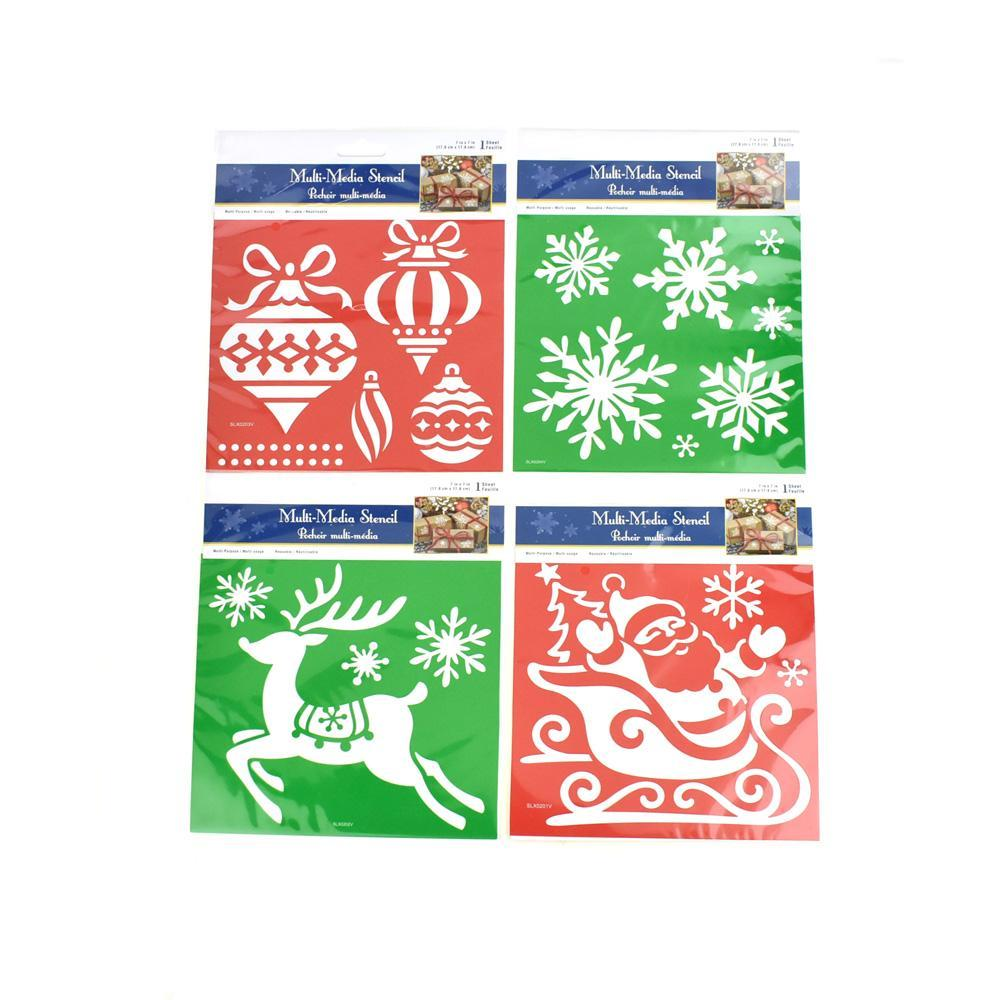 Holiday Icons Christmas Multi-Media Stencil, 4-Piece
