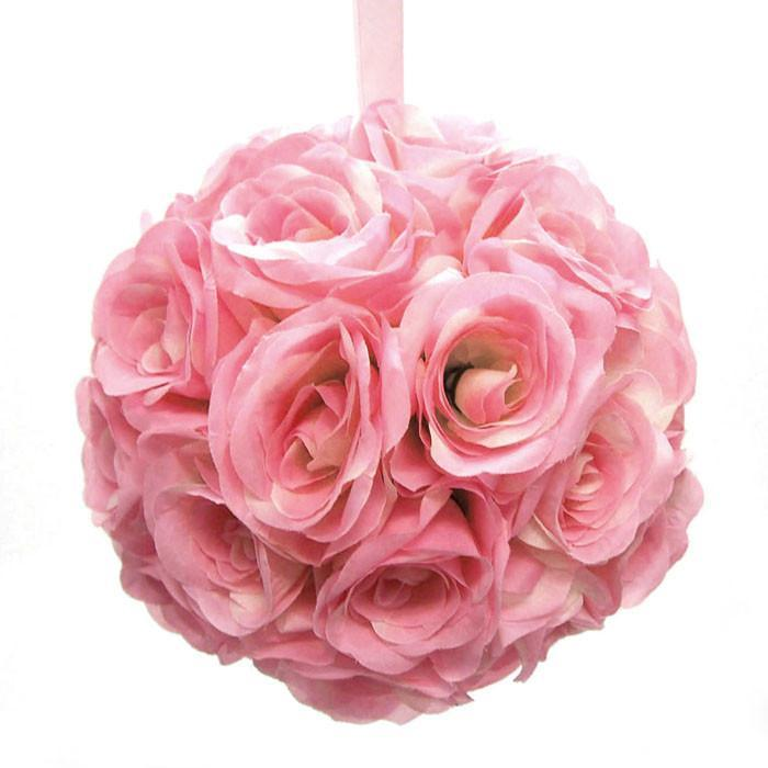 Silk Flower Kissing Balls Wedding Centerpiece, 10-inch, Light Pink