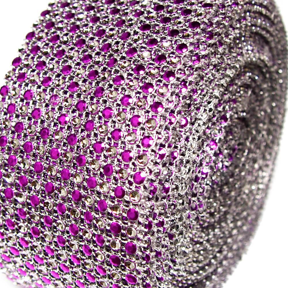 Two Tone Rhinestone Diamond Mesh Wrap Ribbon, 2-1/2-Inch, 10 Yards, Purple