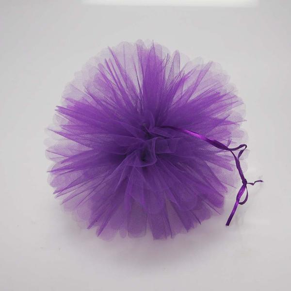 Tulle Pom Poms Ball Centerpiece, 4-Piece, 10-Inch, Purple