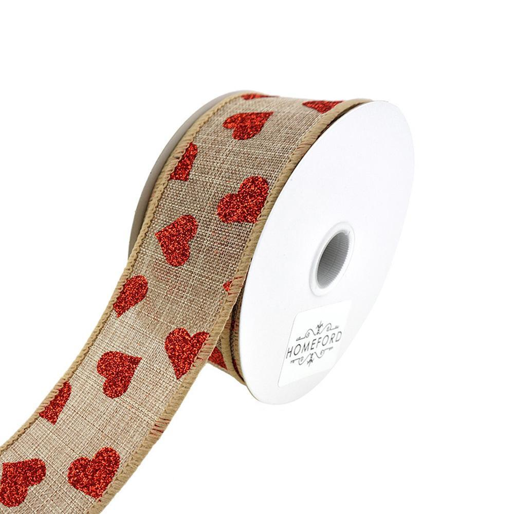 Canvas and Glitter Hearts Wired Ribbon, Natural, 1-1/2-Inch, 10-Yard