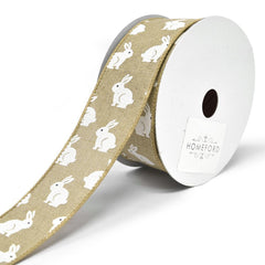 Soft Canvas Bunny Wired Printed Ribbon, 1-1/2-Inch, 10-Yard
