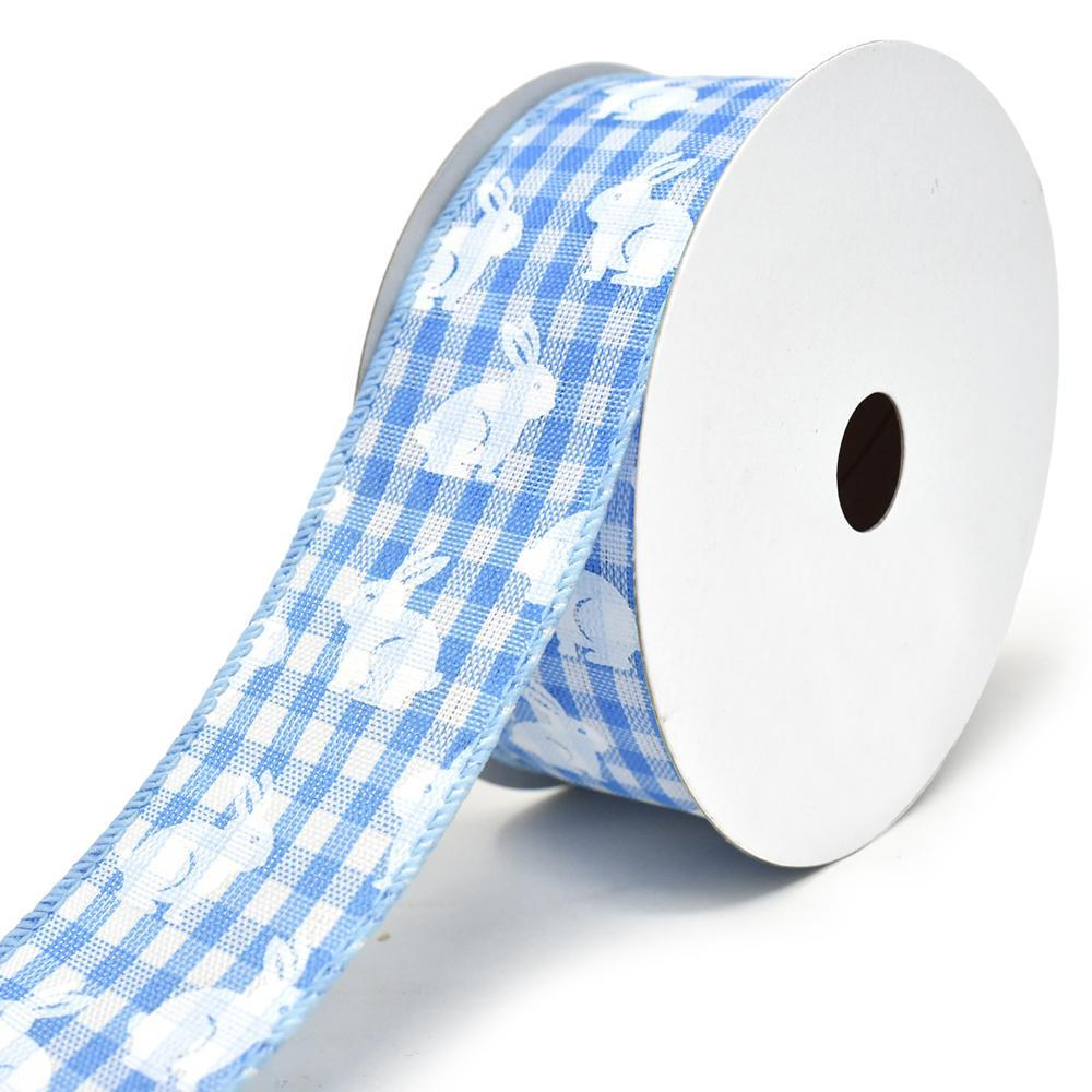 White Bunny Printed Gingham Wired Ribbon, 1-1/2-Inch, 10-Yard, Light Blue