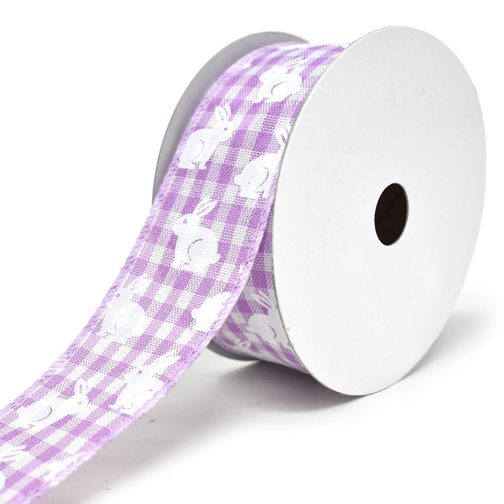 White Bunny Printed Gingham Wired Ribbon, 1-1/2-Inch, 10-Yard, Lavender