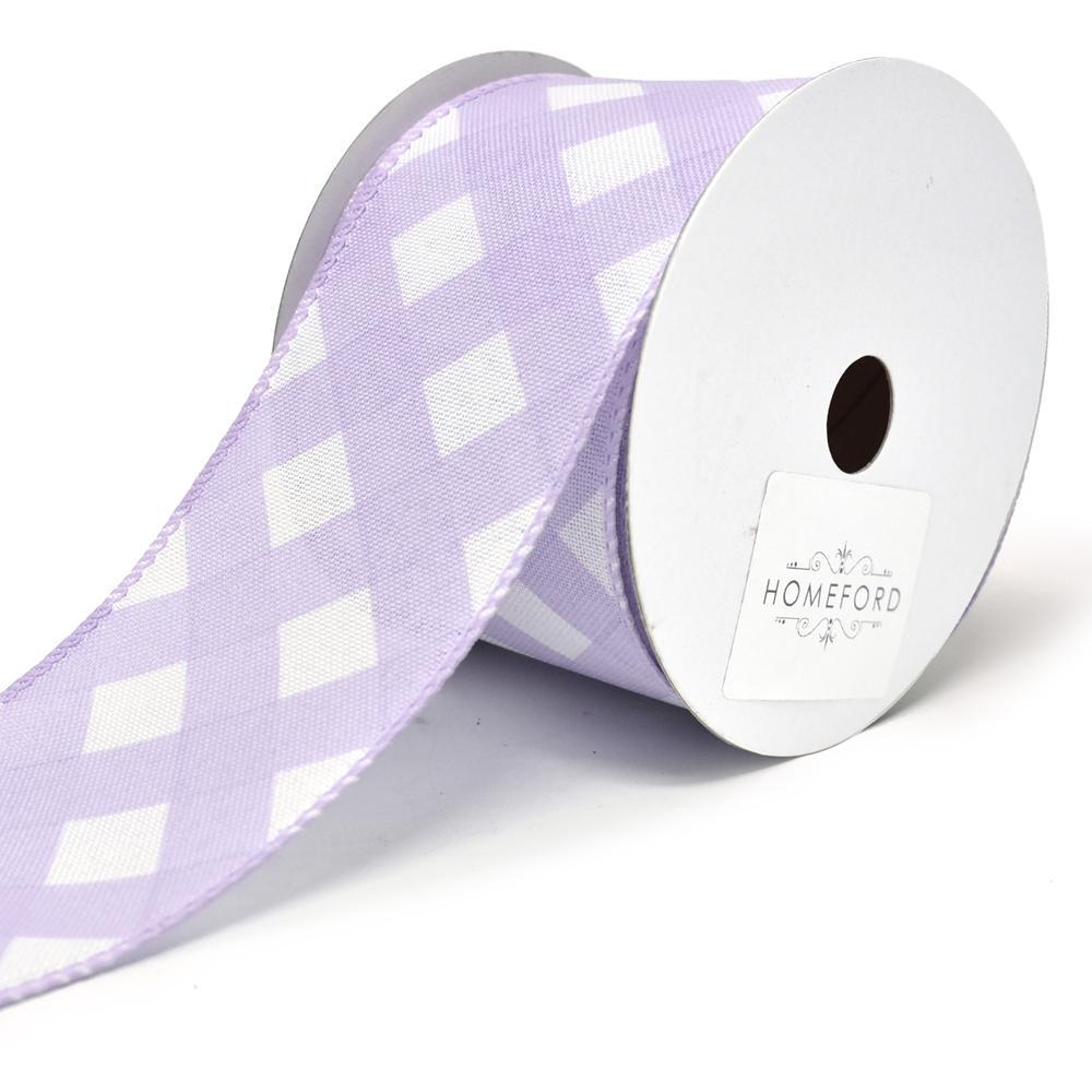 Premium Lattice Basket Weave Wired Ribbon, 2-1/2-Inch, 10-Yard, Lavender