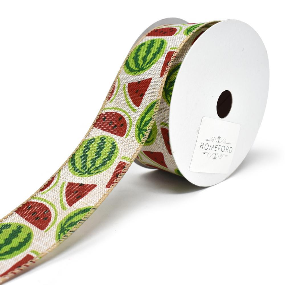 Watermelon Printed Wired Canvas Ribbon, 1-1/2-Inch, 10-Yard, Natural