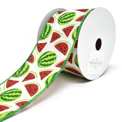 Watermelon Printed Wired Canvas Ribbon, 2-1/2-Inch, 10-Yard