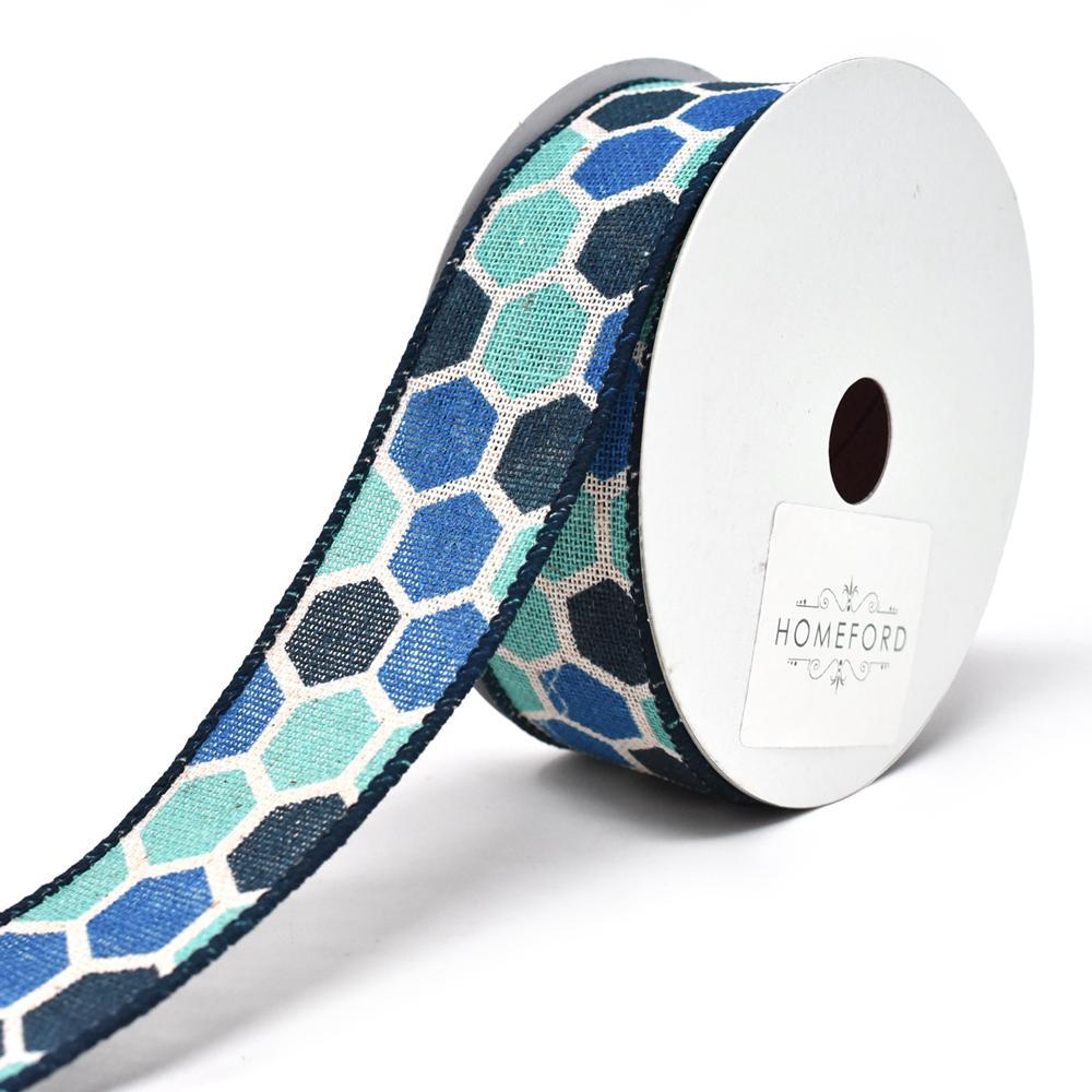Variation Hex Wired Printed Canvas Ribbon, 1-1/2-Inch, 10-Yard, Blue