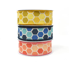 Variation Hex Wired Printed Canvas Ribbon, 1-1/2-Inch, 10-Yard