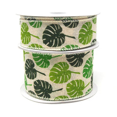 Green Monstera Leaves Print Ivory Canvas Ribbon, 10 Yards