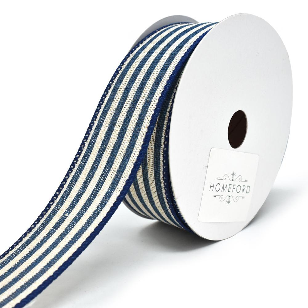 Cabana Stripes Canvas Wired Ribbon, 1-1/2-Inch, 10-Yard, Navy