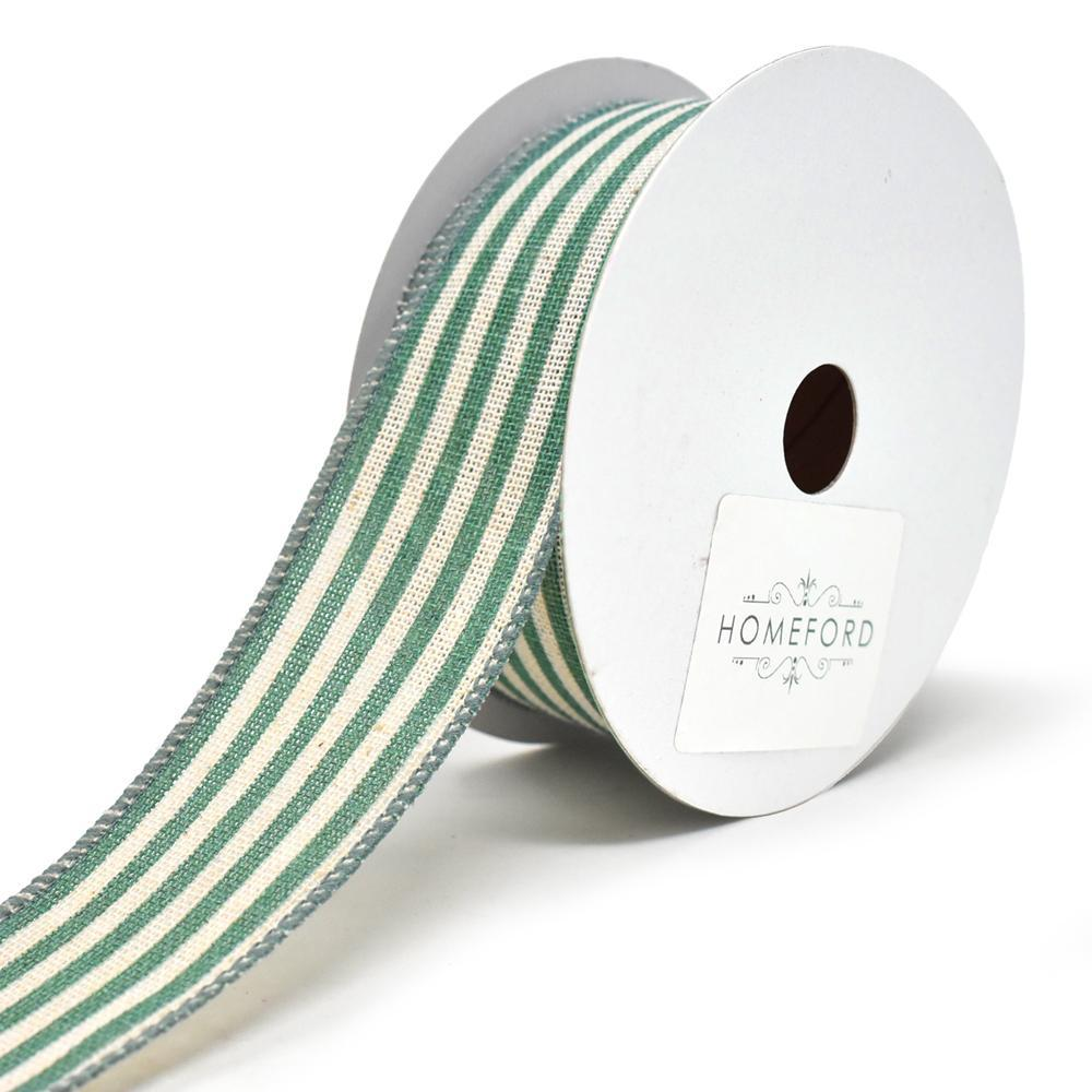 Cabana Stripes Canvas Wired Ribbon, 1-1/2-Inch, 10-Yard, Teal