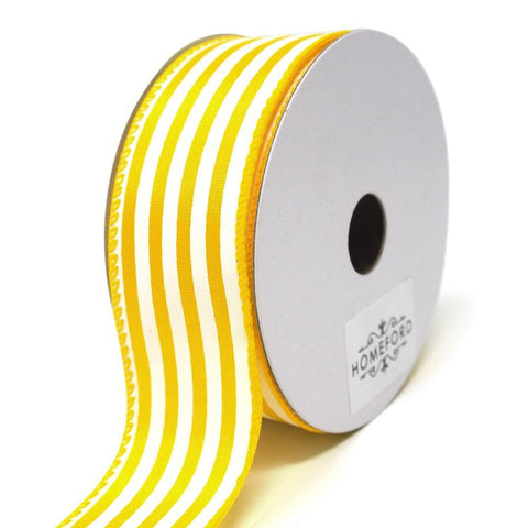 Cabana Stripes Satin Wired Ribbon, Yellow, 1-1/2-Inch, 10 Yards
