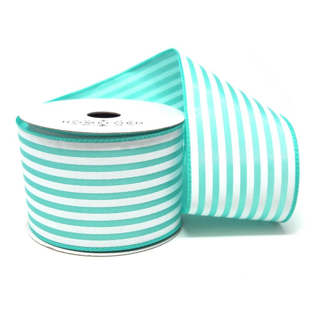Cabana Stripes Satin Wired Ribbon, Aqua, 2-1/2-Inch, 10 Yards – www ...