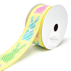 Stitched Bunny Cut Outs Wired Linen Ribbon, 1-1/2-Inch, 10-Yard