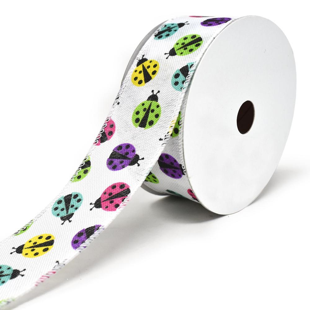 Vibrant Colored Lady Bugs Wired Linen Ribbon, 1-1/2-Inch, 10-Yard, White