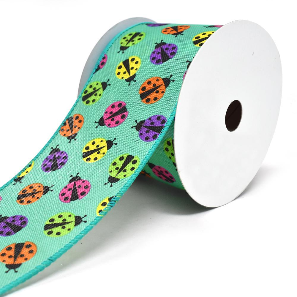 Vibrant Colored Lady Bugs Wired Linen Ribbon, 2-1/2-Inch, 10-Yard, Teal