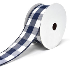 Jumbo Gingham Wired Linen Ribbon, 1-1/2-Inch, 10-Yard
