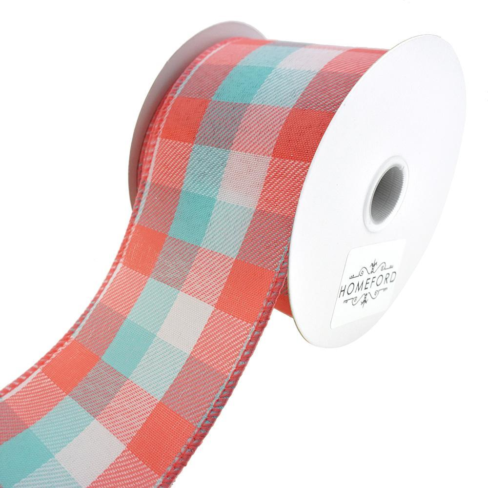 Checkered Plaid Linen Wired Ribbon, Aqua/Coral, 2-1/2-Inch, 10-Yard