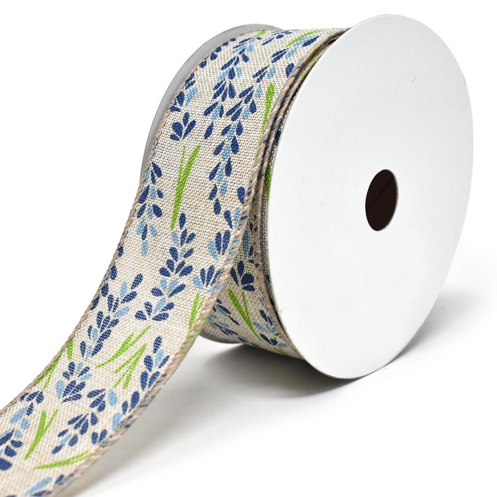 Blooming Hyacinth Wired Linen Ribbon, 1-1/2-Inch, 10-Yard, Blue
