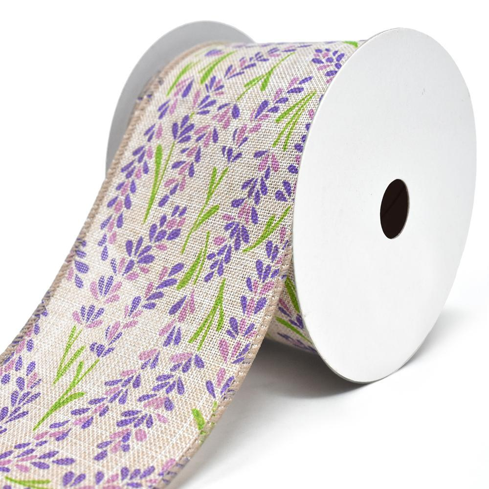 Blooming Hyacinth Wired Linen Ribbon, 2-1/2-Inch, 10-Yard, Purple