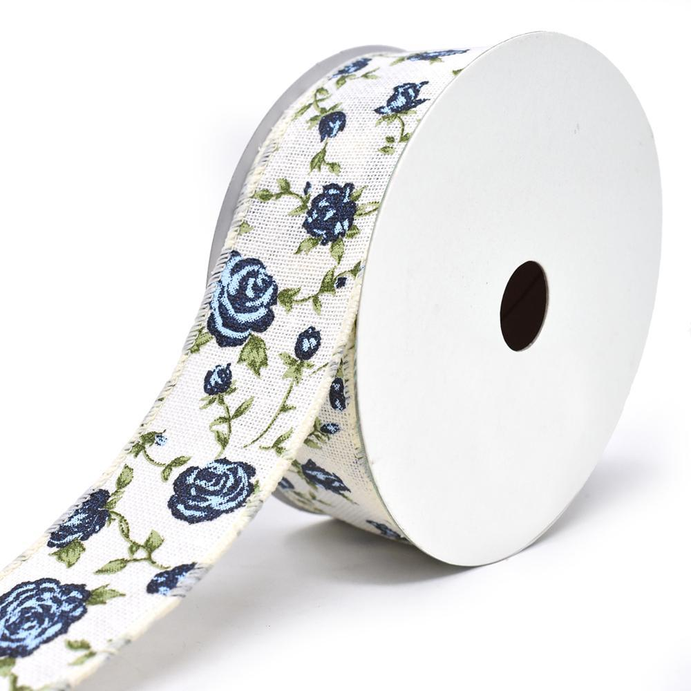 Blooming Rose Wired Canvas Ribbon, 1-1/2-Inch, 10-Yard, Blue