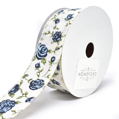Blooming Rose Wired Canvas Ribbon, 1-1/2-Inch, 10-Yard
