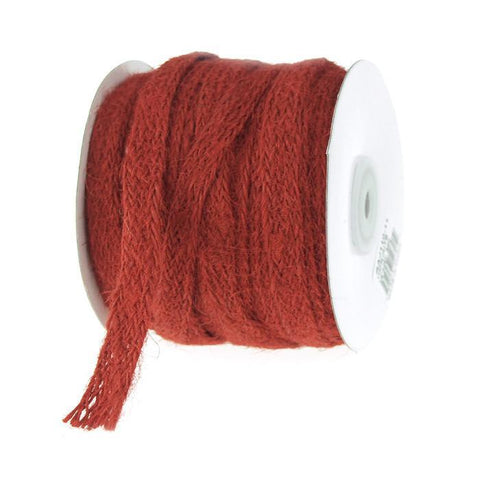 Braided Burlap Jute Ribbon, 3/8-Inch, 25 Yards, Red