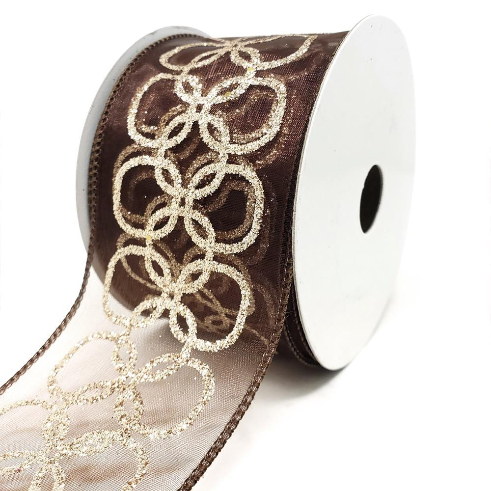 Glitter Chain Circles Sheer Wired Ribbon, Brown, 2-1/2-Inch, 10-Yard