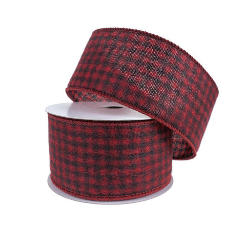 Brushed Woven Felt Buffalo Plaid Christmas Ribbon, 2-1/2-Inch, 10-Yard