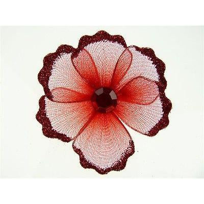 Organza Glitter Nylon, Mini Flower, 2-inch, 12-Piece, Red