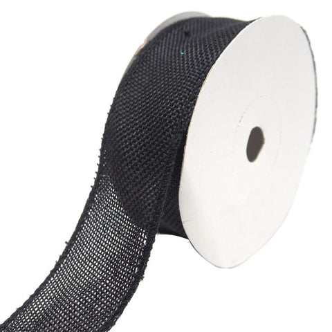 Loose Weave Faux Jute Ribbon, Black, 1-1/2-Inch, 10-Yards