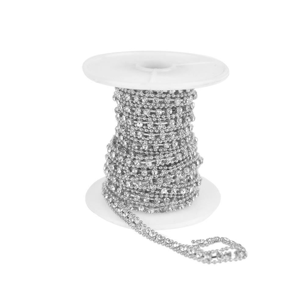 Beaded Edge Diamond Rhinestone Link Roll, Silver, 5mm, 5-Yard